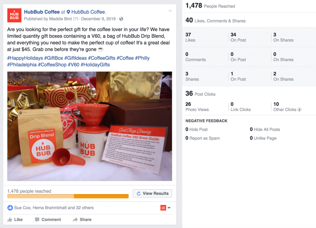 HubBub Coffee Facebook Post