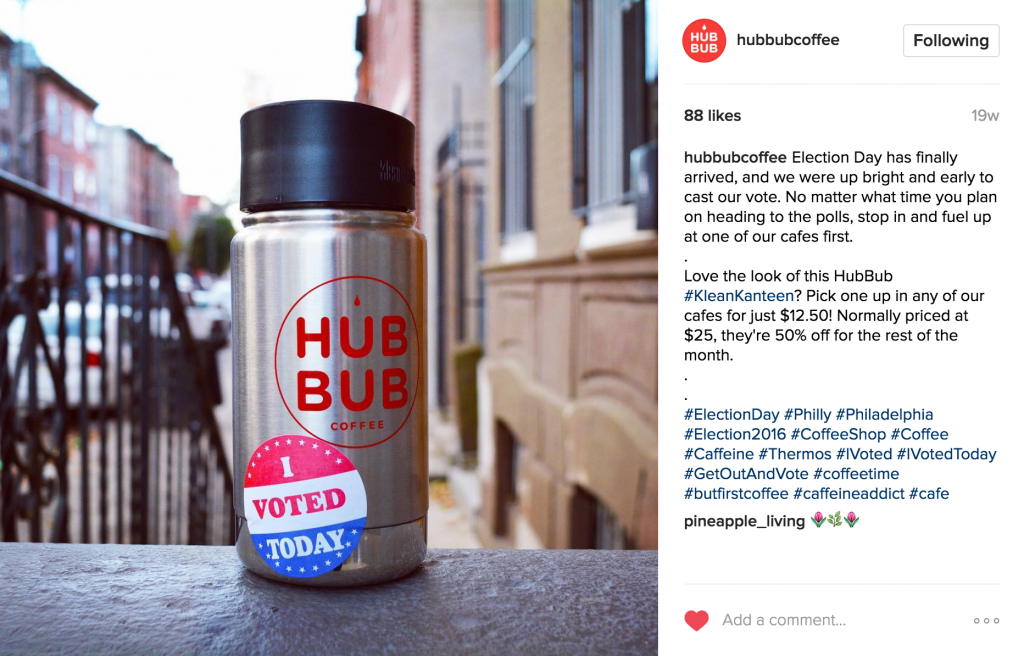 HubBub Coffee Instagram Post