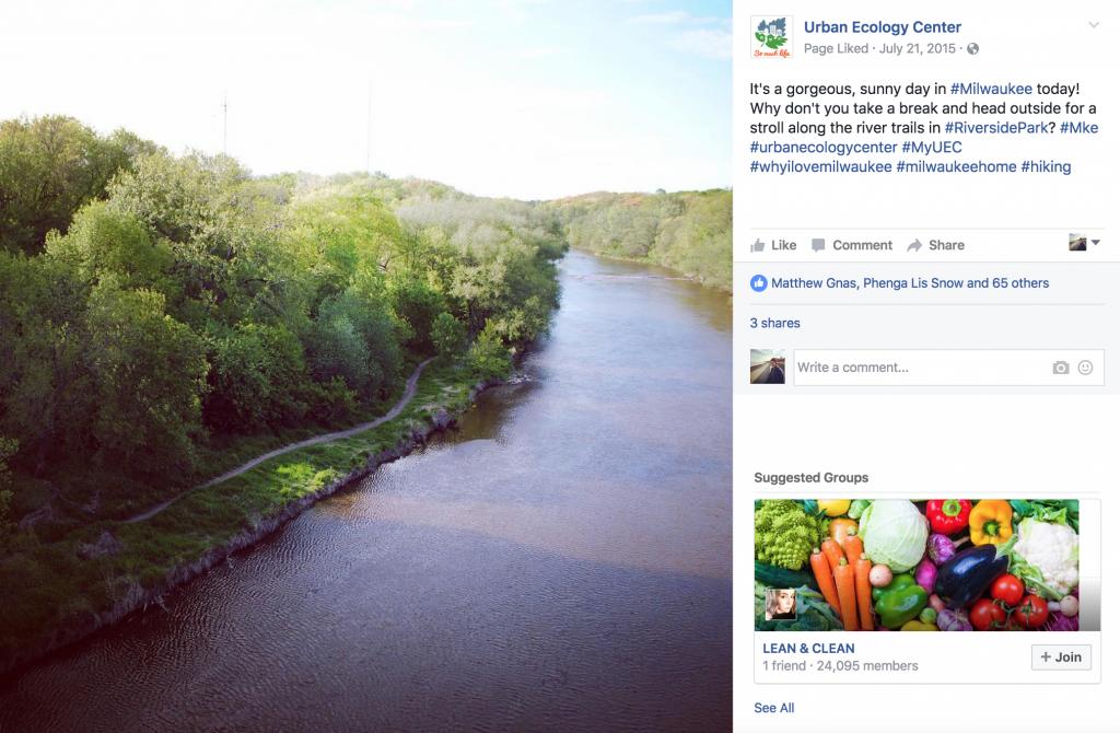 Urban Ecology Center Facebook Post