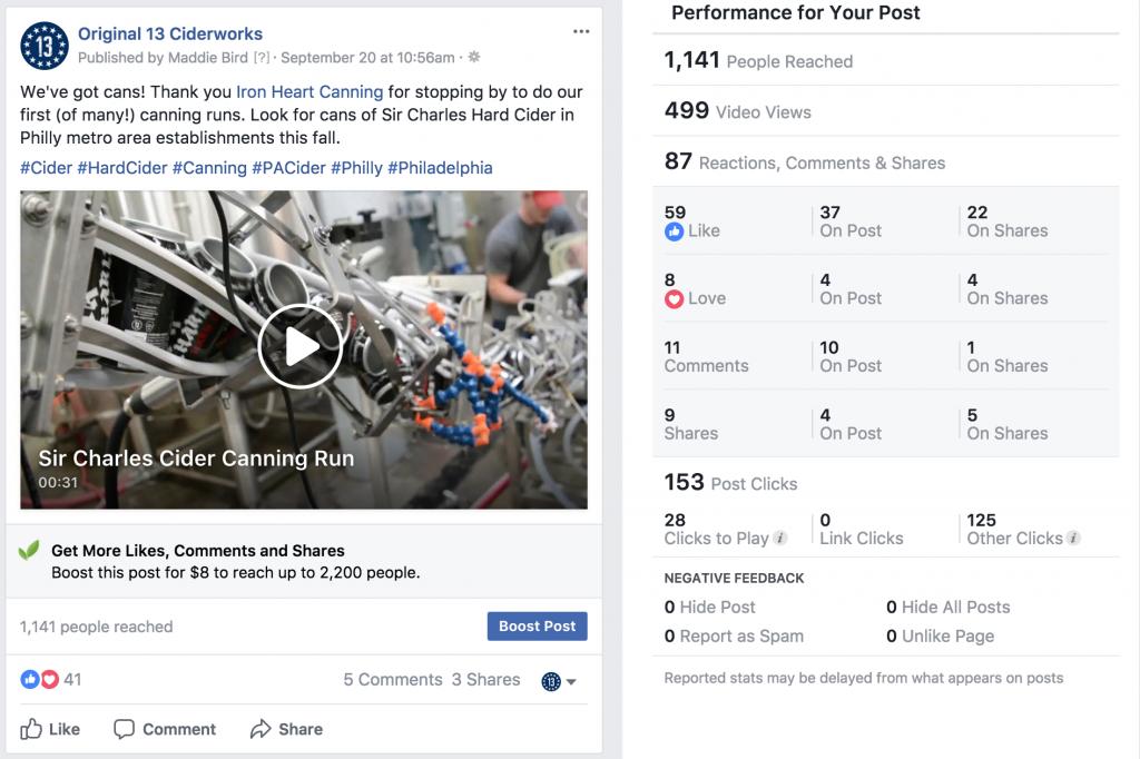 Original 13 Ciderworks Facebook Post