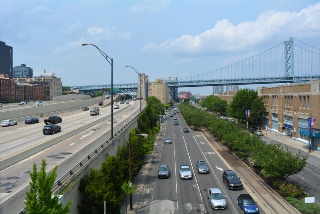 The view of I95 Northbound and the Ben Franklin Bridge from Market Street