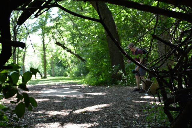 The view from inside a fort built in Estabrook Park