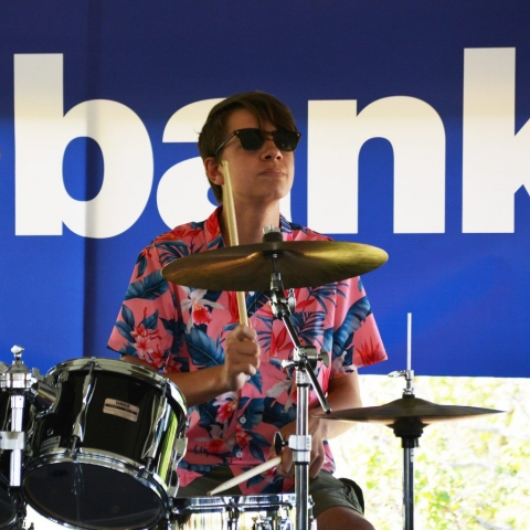 Max Bird playing drums with the Madcap Quartet