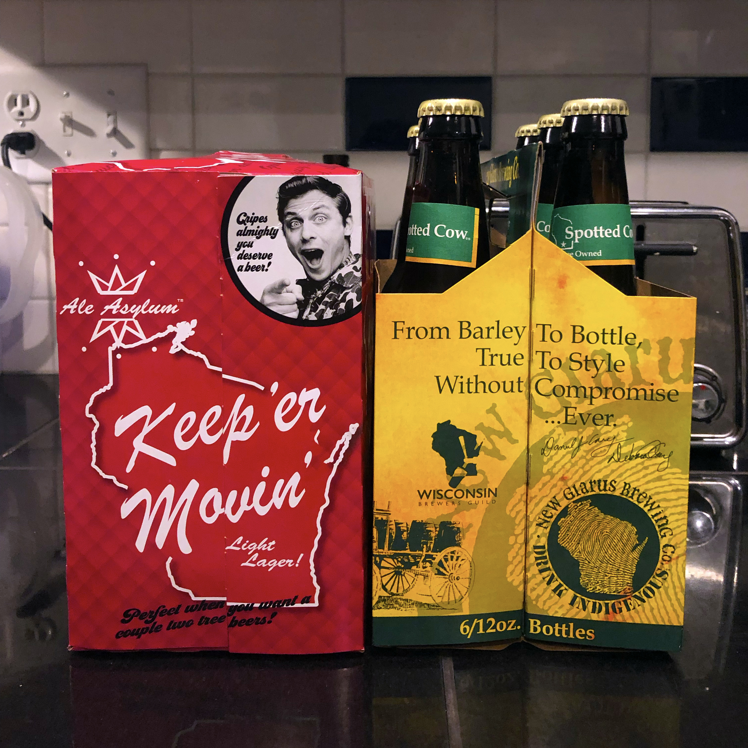 Keep Er Movin Lager from Ale Asylum and Spotted Cow from New Glarus