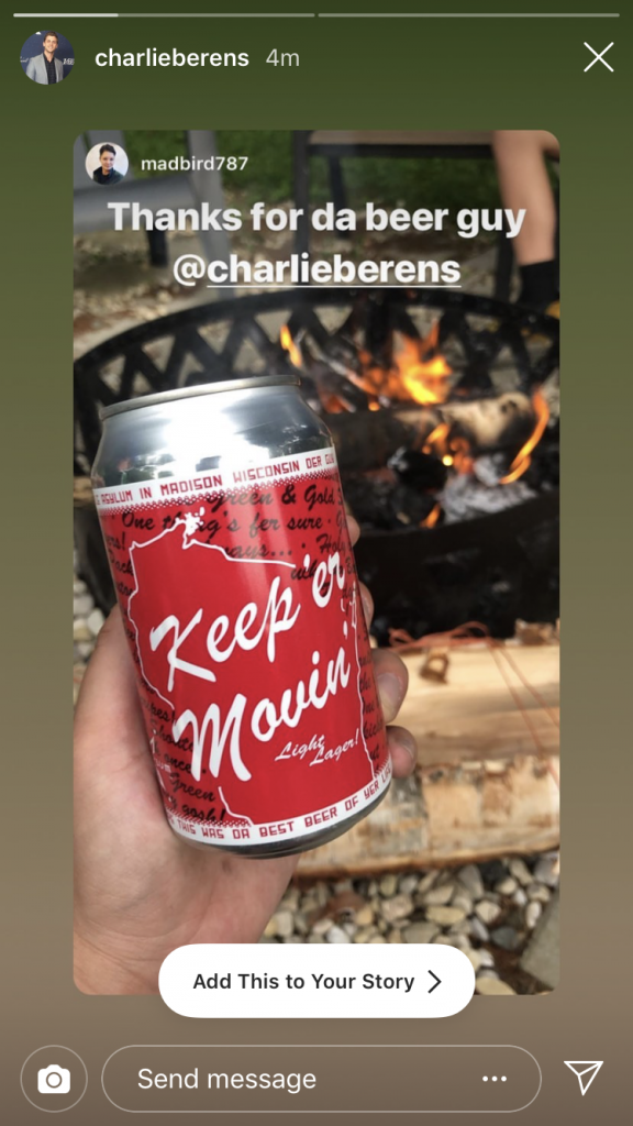 A screenshot of Charlie Berens' Instagram Story featuring Maddie Bird's Instagram Story