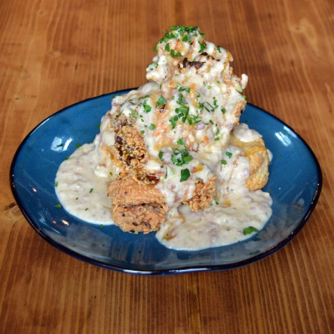 Fried Chicken topped with Gravy