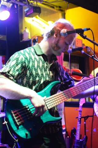Saul playing the bass guitar for Edith's End