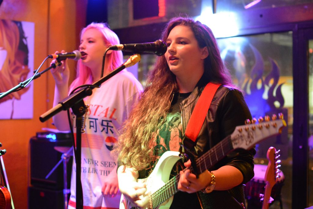 Elly and Emma Bird singing at Fire on Water with Edith's End